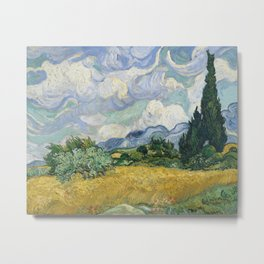Wheat Field with Cypresses by Vincent van Gogh Farmhouse Aesthetic Blue Emerald Green Golden Yellow Metal Print