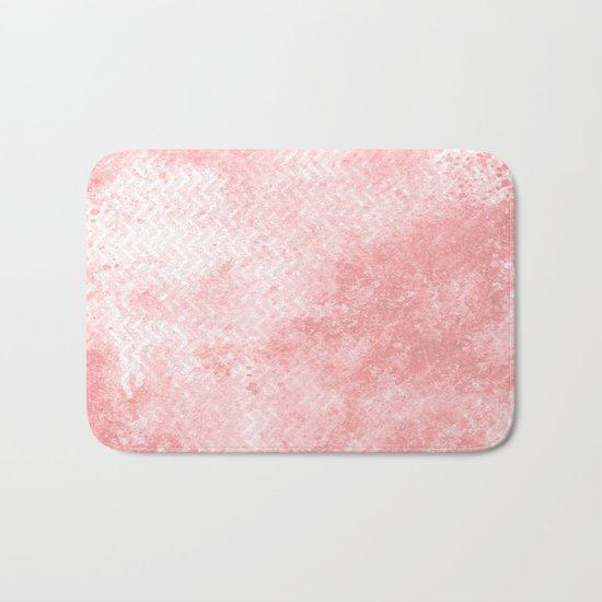 Rose quartz chevron pattern with grunge texture Bath Mat
