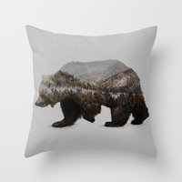 charlie brown Throw Pillows featuring The Kodiak Brown Bear by Davies Babies
