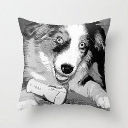australian shepherd aussie dog puppy vector art black white Throw Pillow