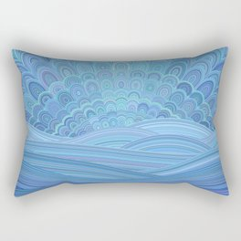 Blue Mandala Sunset at the Ocean Rectangular Pillow