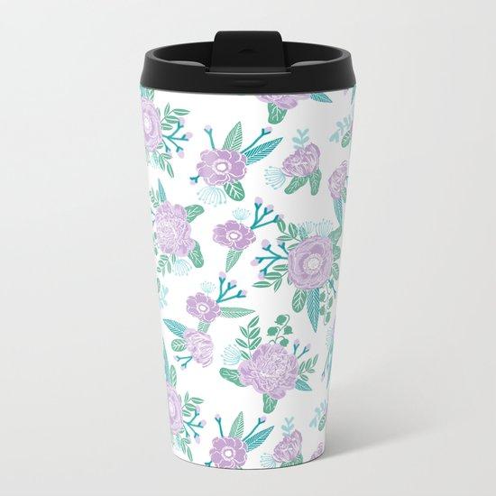 Floral bouquet pastel mint lilac florals painted painted pattern basic minimal pattern print Metal Travel Mug
