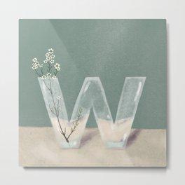 Vase W Wax flowers Metal Print