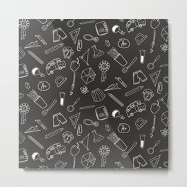 School pattern on black background Metal Print
