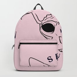Rose Gold - Blush Pink - Alien Demon Eyes Hairless Sphynx Cat - Send Nudes - Funny Quote - Line Drawing Wrinkly Kitty Backpack