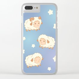 Cute Little Sheep on Blue Clear iPhone Case