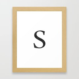 Letter S Initial Monogram Black and White Framed Art Print