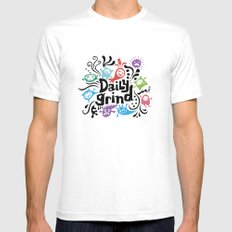 Daily Grind - white MEDIUM White Mens Fitted Tee