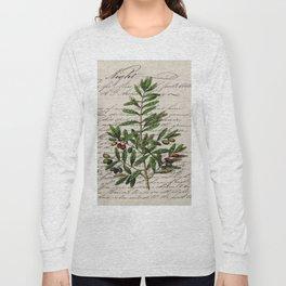 Chic paris scripts kitchen artwork french botanical leaf olive Long Sleeve T-shirt