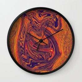 Red and blue merging liquid Wall Clock