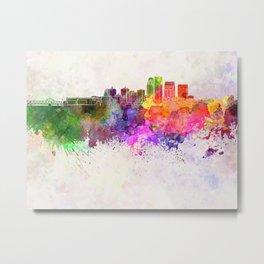 Louisville skyline in watercolor background Metal Print
