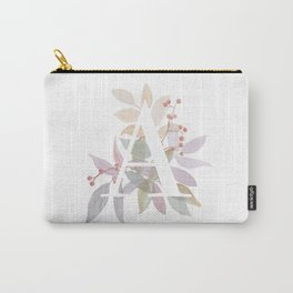 Fall Floral Monogram A - Rustic Alphabet Typography Carry-All Pouch