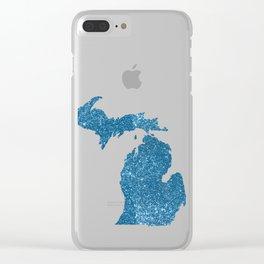 Michigan glitter Clear iPhone Case