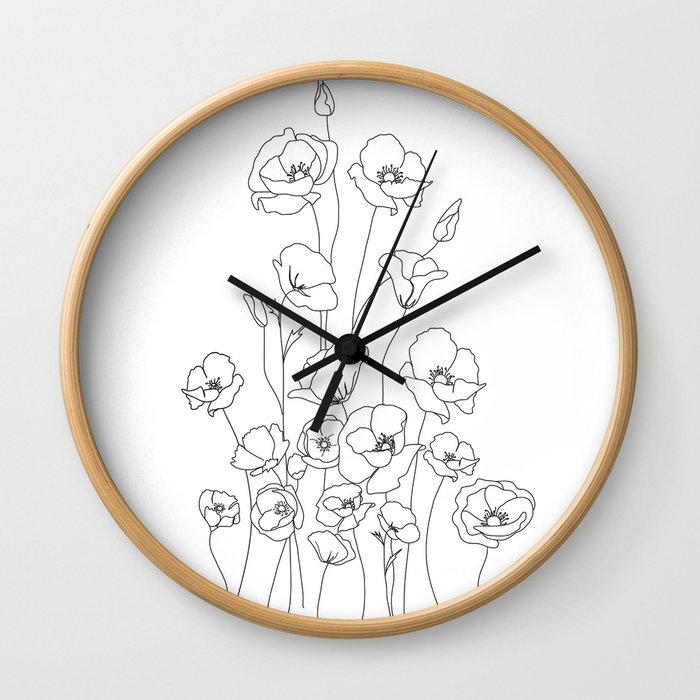 Poppy Flowers Line Art Wall Clock