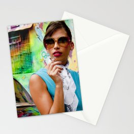 Woman and graffitti Stationery Cards