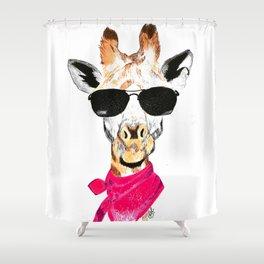 Giraffe with sunglasses Shower Curtain