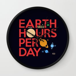 Earth Hours Per Day Wall Clock