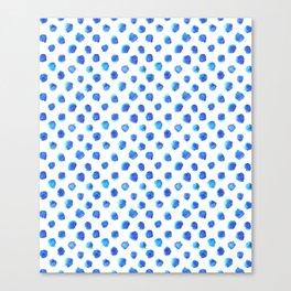 Watercolor Tie Dye Dots in Indigo Blue Canvas Print