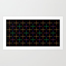 Neon diamonds. Pattern or background of multicolored neon stars on a black background Art Print