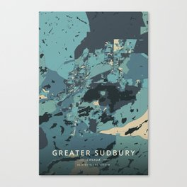 Greater Sudbury, Canada - Cream Blue Canvas Print