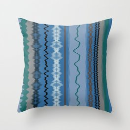 Assorted Waves And Lines In Blue Green Throw Pillow