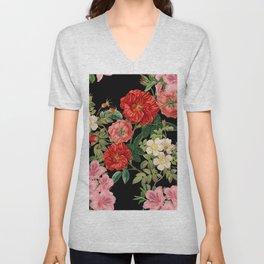 Vintage Floral Pattern on Black Unisex V-Neck