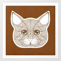 Tracery cat Art Print