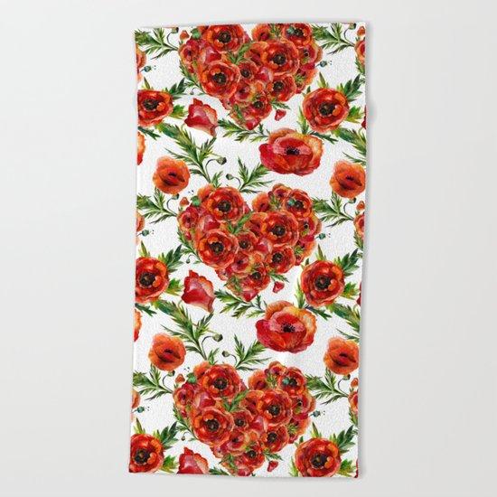 Poppy Heart pattern Beach Towel