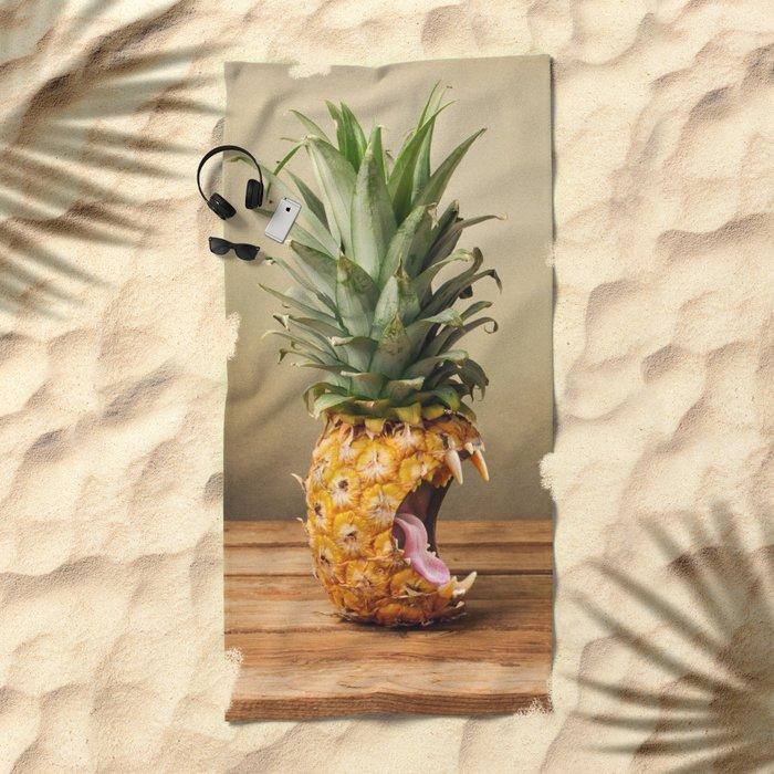 Pineapple is hungry Beach Towel
