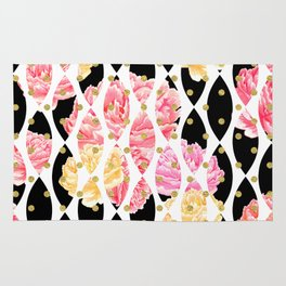 Watercolor Floral Black & White with Gold Polka Dots Pattern Peonies Rug
