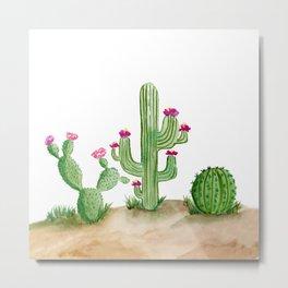 Watercolor Cactus In The Desert Metal Print
