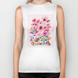Peachy Wildflowers Biker Tank