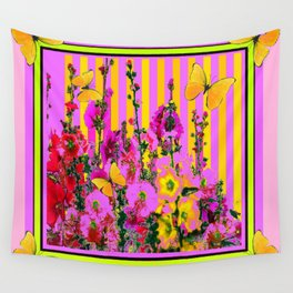 YELLOW BUTTERFLIES  PINK FLORAL GARDEN  ABSTRACT Wall Tapestry