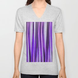 Luxurious Lilac, Purple and Silver Stripy Pattern Unisex V-Neck