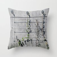 the wire Throw Pillows featuring Wire Trellis  by Ethna Gillespie