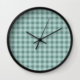 Gingham Pattern - Teal Wall Clock