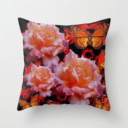 Three Antique Pinkish Roses Monarch Butterflies Art Throw Pillow