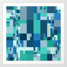 blue / green mosaic pattern Art Print