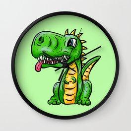 Dino Time! Little Green Dinosaur Wall Clock