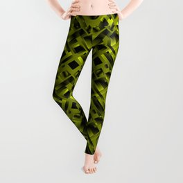 Stylish design with rotating circles and yellow rectangles from dark stripes. Leggings
