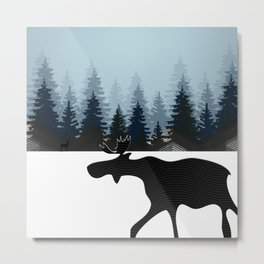 WINTER WALK OF AN ELK II Metal Print