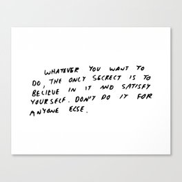 Keith Haring quote in his own handwriting Canvas Print