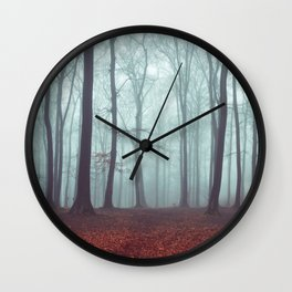 Forest Magic - Foggy Forest Scene Wall Clock
