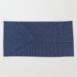 Lines / Navy Beach Towel