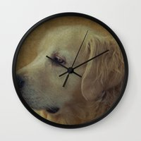golden retriever Wall Clocks featuring Golden Retriever by mexi-photos
