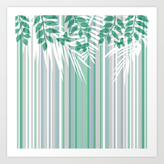 Multi-colored striped pattern with green tones . Art Print