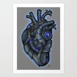 Robot Heart - Black Art Print
