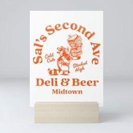 """Sal's Second Ave Deli & Beer"" Cute Racoon & NYC Style Deli Art Mini Art Print"