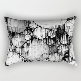 Glitch Black & White Circle abstract Rectangular Pillow