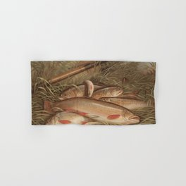 Vintage Painting of Caught Brook Trout (1868) Hand & Bath Towel